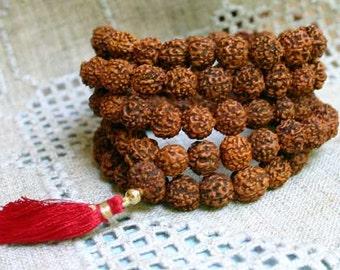 Rudraksha Full Mala Buddist Prayer Yoga Bracelet Wrap Seed Meditation 108 Beads