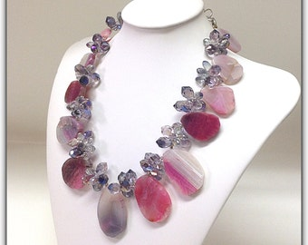 Pink Agate Crystals Statement Necklace