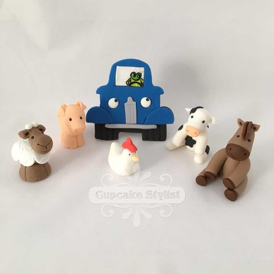 Little Blue Truck Cake Topper Set Fondant by Cupcake Stylist