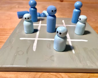 Tic tac toe coffee table game, coffee table board game, hand painted interactive fun, family game night, blue board game, tic tac toe