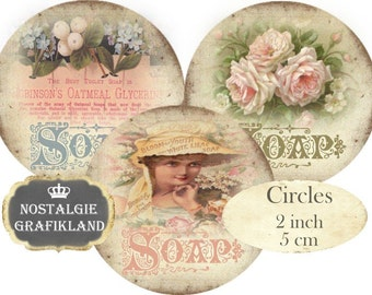 Circles 2 inch Vintage Soap Instant Download digital collage sheet C241 Savon Perfume