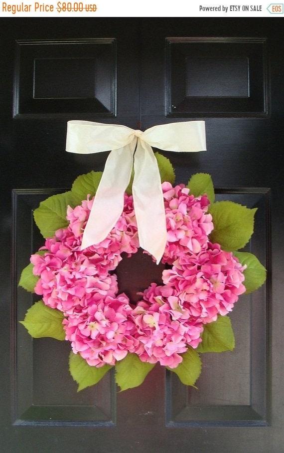 SUMMER WREATH SALE Pink Hydrangea Wreath with Ribbon, Spring Wreath, Girls Room Decor, Wall Decor, Baby Girls Nursery Room Decor, Spring Wre