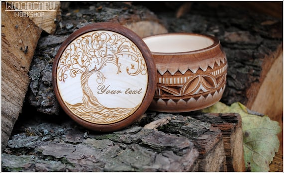 Small Personalized tree of life box wooden ring box Tree of