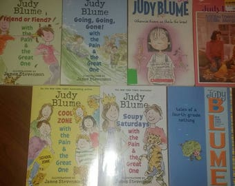 Lot of 7 Judy Blume Softcover Books Are You There God It's Me Margaret? Otherwise Known Sheila The Great  Tales of a Fourth Grade Nothing