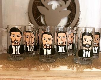 Groomsman Gifts - Charicature Beer Steins - Bachelor Party Decor - Bachelor Party Beer Steins - Beer Mugs - Groomsman beer Character mugs.