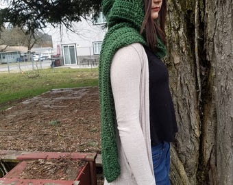 Emerald Green Hooded Scarf