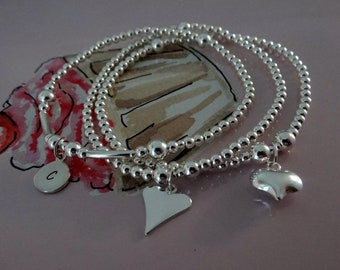 Sterling silver trio stacking bracelet set stretch bracelets by charmed