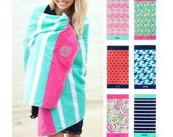 Monogrammed Beach Towel Personalized Beach Towel Beach Towel Adult Monogram Beach Towel Monogrammed Towel Flamingo Ikat Camo Pink Pool Towel