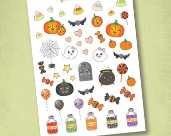 Halloween Stickers, matte or glossy planner stickers, life planner stickers, erin condren filofax, mambi happy planner
