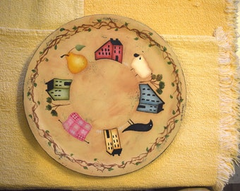 Primitive Spring Plate/Tray.  Terrye French design hand painted by Tammy Roberds.