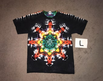 Tie Dye T-Shirt ~ Fire Mandala With Black Background ~ i_9155 in Adult Large