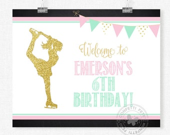 Ice Skating Party Sign, Pink and Gold Skating Welcome Sign, Ice Skating Birthday Sign, Skating Party Decorations, Printable 8x10 Sign