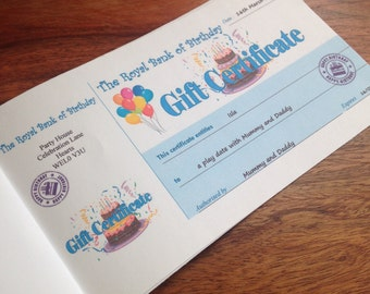 Birthday Personalised Voucher Book