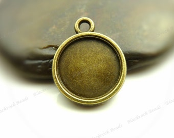 10 Double Sided Cabochon Settings Antique Bronze Tone - Fits 12mm Cab, Round Bezel Trays, Cameo Base, Pendant Blanks - BH20