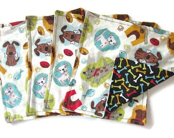 Kids Cloth Napkins, Small Cotton Reversible Napkins,  8 X 8, Set of 4, Dog Print, Double Sided Lunchbox Napkins, 2 Ply, Reusable, Washable