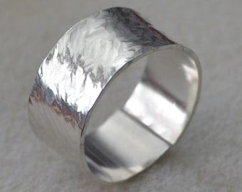 12mm Sterling Silver Hammered Men's Ring
