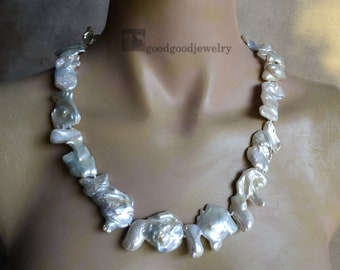 Huge Nucleated Pearl Necklace -23.75 inches 19x25.5-23x42mm freshwater pearl necklace,ivory pearl necklace ,real Pearl necklace