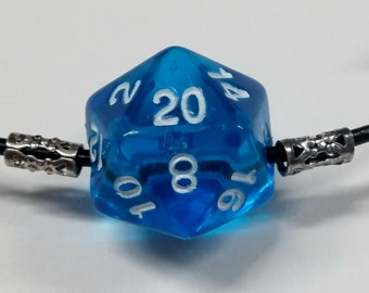 Leather D20 Necklace: Dungeons and Dragons necklace, dice jewelry, blue gem dice, adjustable necklace, D&D necklace, free dice bag