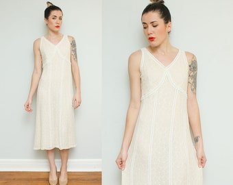 Ivory Lace Simple Wedding Gown // 90s Silk Sleeveless Eyelet Flapper Girl Boho Jane Seymour Empire Waist Midi Dress Size Small Medium