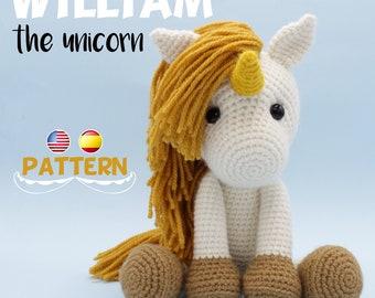 Unicorn crochet PATTERN, Amigurumi unicorn pattern pdf tutorial - WILLIAM the Unicorn