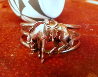 Horse sterling silver cuff bracelet cowgirl jewelry can be slightly adjusted