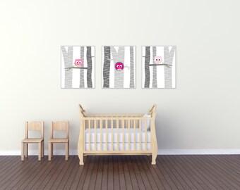 Baby Girl Owl Nursery Wall Art Print, Baby Girl Owls in a Tree, Suits Pink and Gray Nursery, Baby Girl Nursery Decor- H194