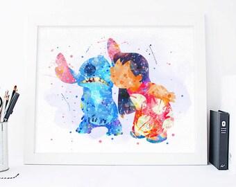Lilo and Stitch print Disney Lilo and stitch Watercolor Disney ohana Print, disney decor, Watercolor nursery poster, ohana Poster disney art