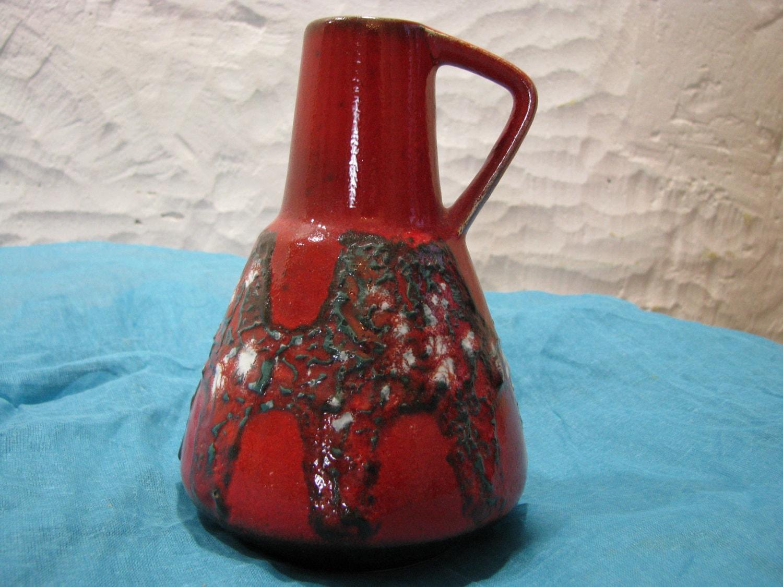 mid century vase rot schwarz wei keramik d mler breiden. Black Bedroom Furniture Sets. Home Design Ideas