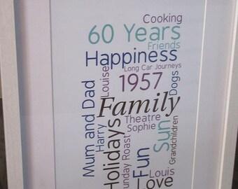 Personalised Framed Word Art Print