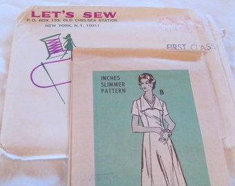 vintage LET'S SEW- mail order women's dress pattern no. 4813 --size 20 1/2 (1970s)