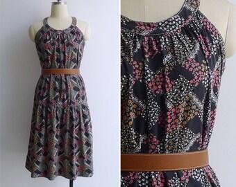 Vintage 80's 'Apple Garden' Lace & Floral Print Racerback Cotton Dress XS or S