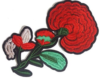 Gestickte Nähen Rote Rosen Patch Applique, Poppy Blume Red Flower Patch