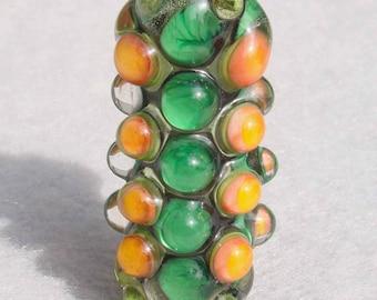 TANGERINE Handmade Lampwork Art Glass Focal Bead - Flaming Fools Lampwork Art Glass  sra