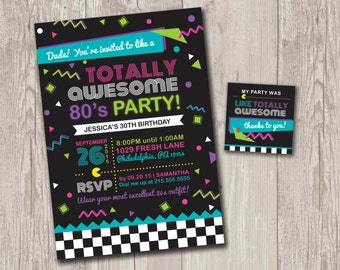 Totally Awesome 80's Party Invitations | Birthday Invitation with FREE matching favor tags | Digital File