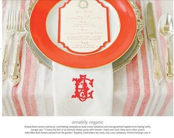 Napkins as seen in the Knot magazine. Linen Napkins, Wedding Napkins,cloth napkins,dinner napkins, wedding napkins, beautiful, elegant,