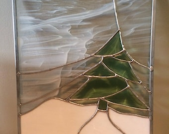 Winter beveled stained glass window