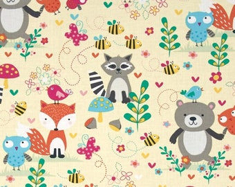 Woodland Fabric by the Yard, Quilting, Nursery, Baby, Animal, Fox, Raccoon, Owl, Bear, Butterfly, Bee, Childrens, Decor, Gray, Pink, Yellow