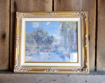 Claude Monet Print - The Artist's House at Argenteuil-  Gilded Gold Ornate Framed