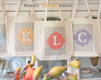 Bridesmaid Bags,8,Tote Bag,LAUREN CHEVRON,Gift Bags,Monogrammed Tote Bags,Chevron bags,Bridesmaid bag,Modern Vintage Market