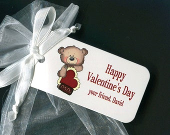 Valentine Tags - Personalized Valentines Day Tags - Valentine Favor Tag - Gift Tags - Party Favor Tags - Bear - Tags for Valentine Gifts
