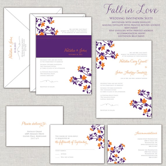 Wedding Invitation Fall Suite Purple And Orange Belly Band Linen Invitations Autumn