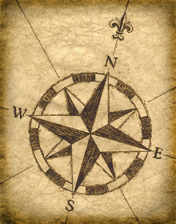 Compass rose artwork 11 x 14 old maps treasure maps for Atlante compass