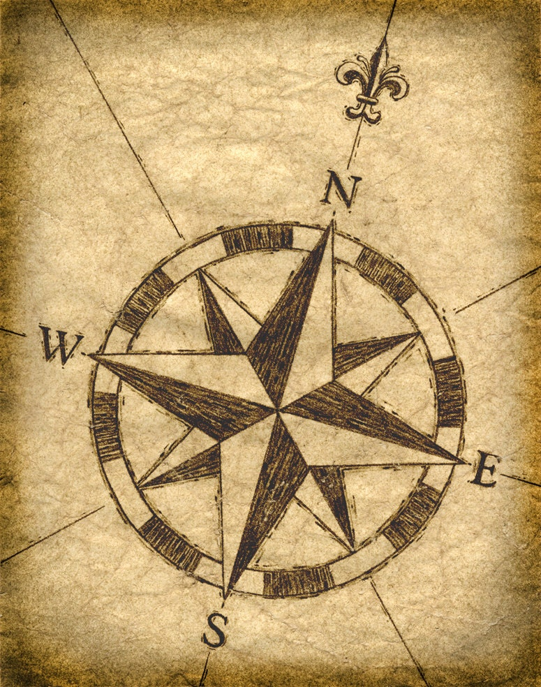 Compass Rose Artwork 11 x 14 Old Maps Treasure Maps