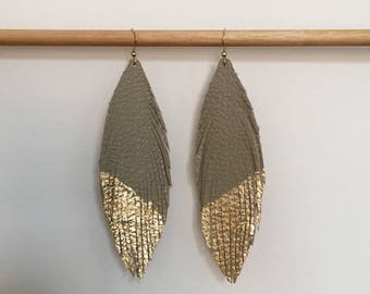 Taupe LEATHER feather earrings leather earrings lightweight dangle earrings featherlight leather earrings gold leaf earrings