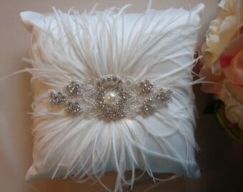 Ivory Ring Bearer Pillow - Rhinestone Ring Bearer Pillow - Feather Wedding Pillow - Satin Ring Bearer Pillow