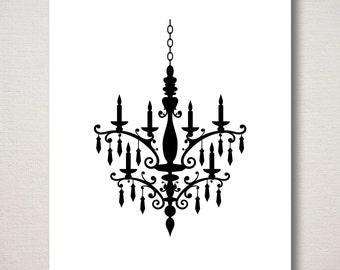 Chandelier Silhouette Art Print