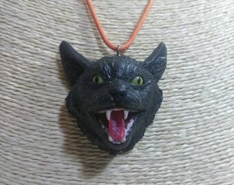 Angry cat necklace, hissing cat necklace, cat pendant, black cat, cat face, Halloween pendant, Halloween necklace Halloween jewelry