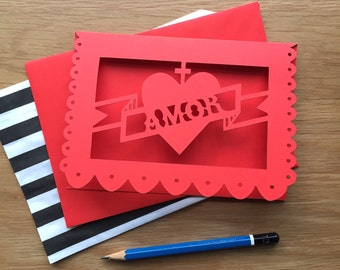 Red Valentines card, love card, amor, heart, mexican heart, greetings card