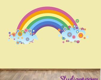 Wiederverwendbare Regenbogen Wandtattoo - Childrens Stoff Wandtattoo