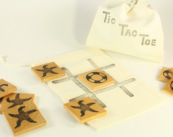 Tic Tac toe Game - Wooden toy - Travel game - Classic game
